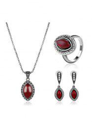 Rhinestone Faux Ruby Oval Jewelry Set