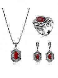 Faux Ruby Rhinestone Geometric Jewelry Set - RED