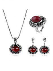 Faux Ruby Gemstone Etched Flower Jewelry Set