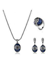 Faux Sapphire Engraved Flower Jewelry Set -