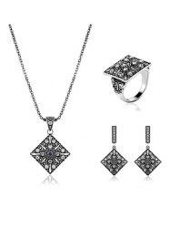 Vintage Alloy Rhinestone Geometric Jewelry Set -