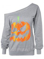 Skew Neck Pumpkin Sweatshirt - GRAY