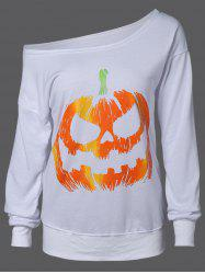 Skew Neck Pumpkin Sweatshirt