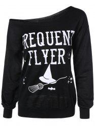 Letter Skew Neck Sweatshirt - BLACK