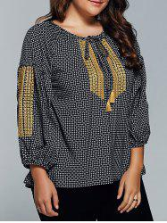 Plus Size Plaid Tie Blouse -