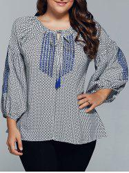Plus Size Plaid Tie Blouse