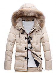 Quilted Duffle Coat with Fur Hood -
