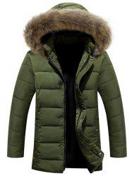 Zipper Button Quilted Coat with Fur Hood - ARMY GREEN 3XL