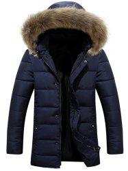 Zipper Button Quilted Coat with Fur Hood
