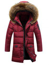 Applique Quilted Coat with Fur Hood -