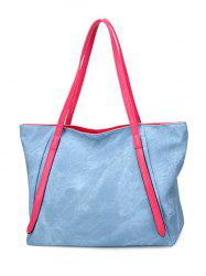 Contrast Handle PU Leather Shopper Bag - LIGHT BLUE