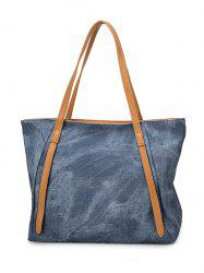 Contrast Handle PU Leather Shopper Bag