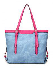 Buckle Straps PU Leather Shopper Bag - LIGHT BLUE