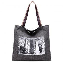 Sketch Print Canvas Bag - GRAY