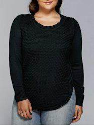 Plus Size Pullover Cable Knitwear - BLACK 3XL