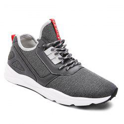 Color Block PU Leather Insert Athletic Shoes - DEEP GRAY