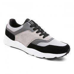 Suede Color Block Tie Up Athletic Shoes - BLACK