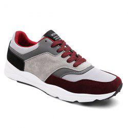 Suede Color Block Tie Up Athletic Shoes - WINE RED 42