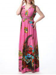 Impression florale Empire Waist Floor Length Boho Dress -