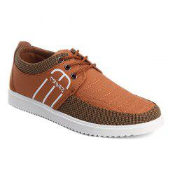 Splicing Stitching Lace-Up Souliers - Brun 41