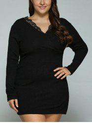 Plus Size Lace Splicing Mini Bodycon Dress