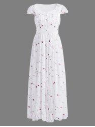 Floral Embroidered Gauze Maxi Wedding Guest Dress - WHITE XL