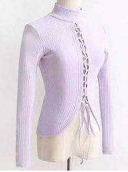High Neck Reversible Lace Up Knitwear