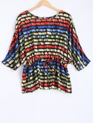 Dolman Sleeves Drawstring Plus Size Blouse