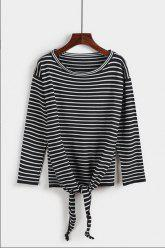 Striped Print Knotted T-Shirt -