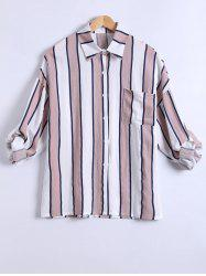 Dolman Sleeves Striped Linen Shirt