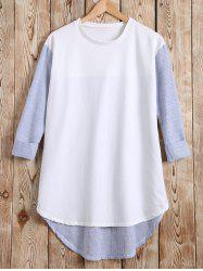 Long Sleeves High Low Patchwork T-Shirt - WHITE 5XL