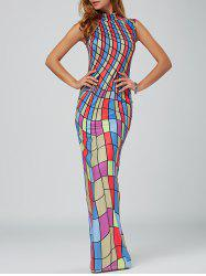 High Neck Plaid Color Block Bodycon Maxi Dress