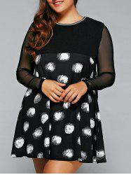 Plus Size Polka Dot Mesh Sleeve A-Line Dress - WHITE AND BLACK 5XL