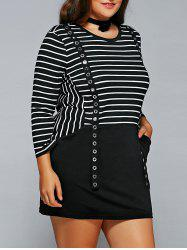 Plus Size Striped Suspender Design Round Neck Dress