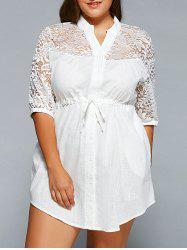 Lace Spliced V-Neck 3/4 Sleeve Plus Size Self-Tie Blouse -