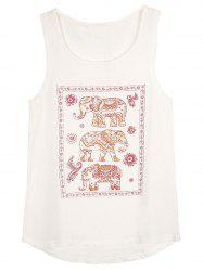 Elephant Print Sleeveless T-Shirt -