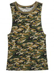 Sleeveless Jewel Neck Camo T-Shirt