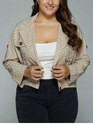 Buttoned Checked Pockets Jacket