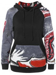 Graffiti Pattern Front Pocket Hoodie -