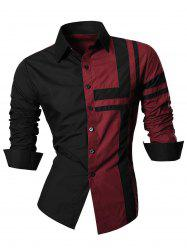 Long Sleeve Cross Striped Color Block Shirt - WINE RED 2XL