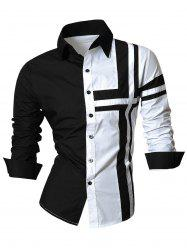 Long Sleeve Cross Striped Color Block Shirt