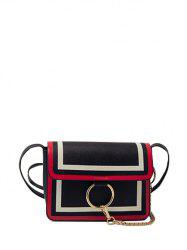 Chain Metal Ring Colour Splicing Crossbody Bag - BLACK