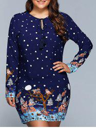 Plus Size Polka Dot Long Sleeve Christmas Dress