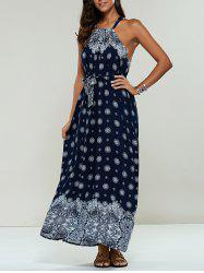 Long Ethnic Print Maxi Halter Sleeveless Dress - PURPLISH BLUE