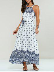 Ethnic Print Maxi Halter Sleeveless Dress - WHITE ONE SIZE