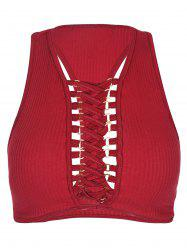 Lace Up Racerback Tank Top -