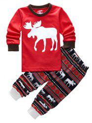 Fawn Printed Christmas Pajamas Sets - RED