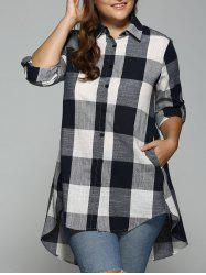 High Low Plus Size Long Plaid Boyfriend Shirt - PURPLISH BLUE