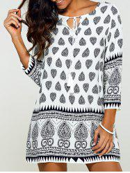 Tribal Print Tunic Mini Dress with Sleeves - BLACK