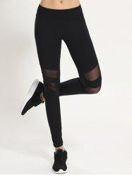 Mesh Panel Sporty Running Leggings - BLACK